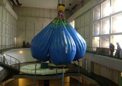 Essai de frein sur pont roulant dans salle des machines avec Water Bag